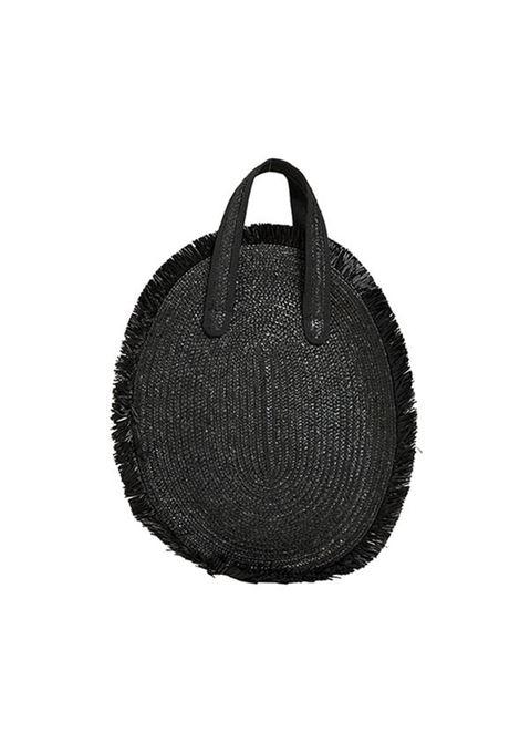 Audrey black rafia bag Michele Chiocciolini | Borsa | AUDREYMEZZALUNA