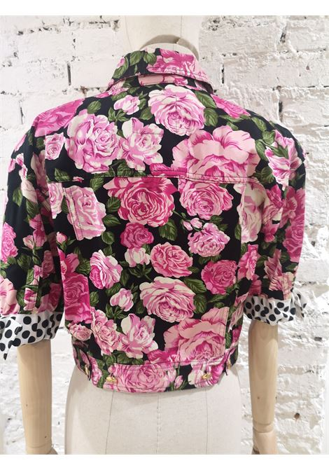Moschino black pink roses cotton jacket Moschino | Jackets | SD020AXDA80ROSE FONDO NERO