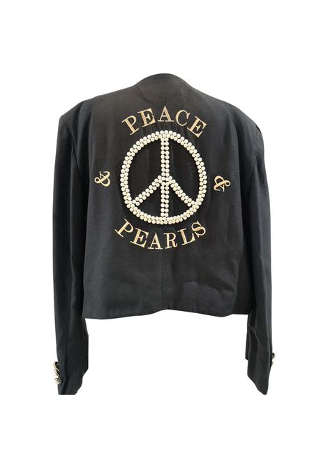 Moschino Couture Peace and Pearls black jacket Moschino | Giacca | SD020ZAF300NERO PERLE
