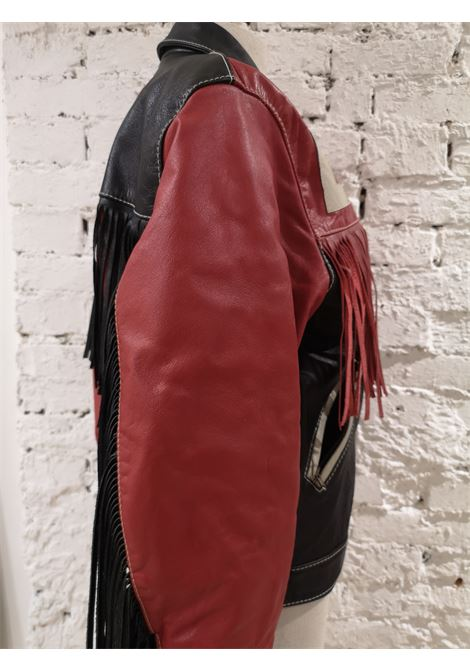 Moschino Love Red Black Leather fringes jacket Moschino | Giacca | SDO020XZASS300ZAPELLE