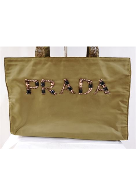 Prada green swarovski logo shoulderbag / python skin leather handle Prada | Borsa | AT020XSFV25SV0SCRITTA