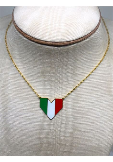 Italian flag heart Silver Necklace ROSSELLA CATAPANO | Necklace | CUOREVIVA LA VITA