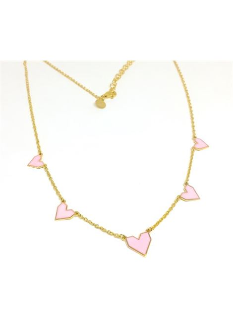 Pink hearts Silver Necklace ROSSELLA CATAPANO | Necklace | CUORI 5ORO ROSA