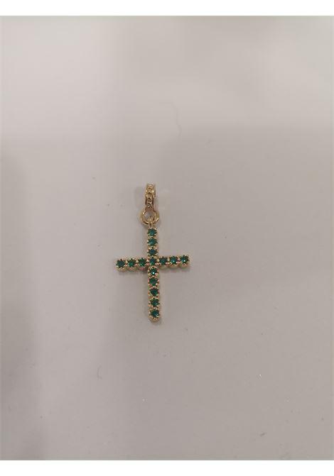 Gold plated cross zirconia charm Scognamiglio Gioielli | Ciondolo | CROCI PIETREVERDE