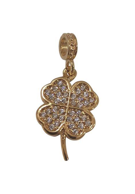 Gold plated four-leaf clover zirconia charm Scognamiglio Gioielli | Ciondolo | MISTIQUADRIF