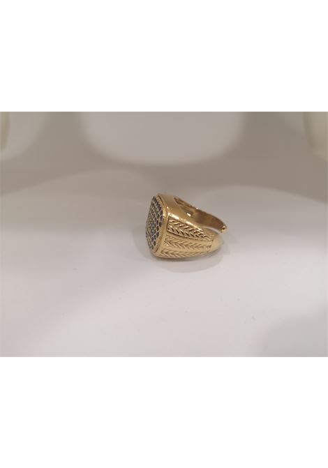 Gold plated blue zirconia ring Scognamiglio Gioielli | Rings | QUADRATO KZBLU