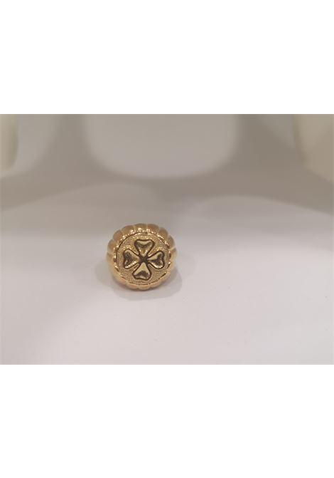Gold plated blue four-leaf clover ring Scognamiglio Gioielli | Anello | TONDOQUADRIFOGLIO
