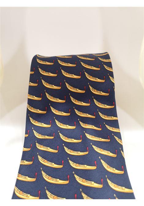 Fabbris blue gondola silk tie VIntage |  | CRAVATTA34