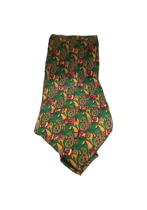 Scolari green horses silk tie VIntage |  | CRAVATTA49