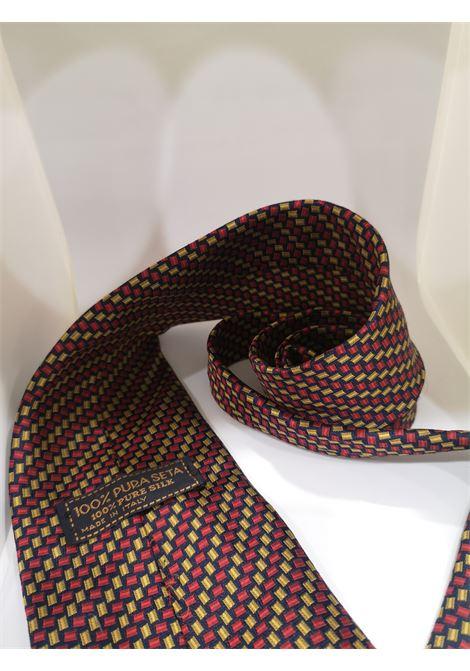 Red, blue and gold tone silk tie VIntage |  | CRAVATTA50