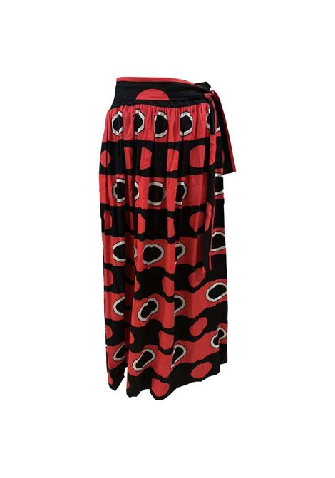 Yves Saint Laurent Rive Gauche black red white long Skirt yves saint laurent | Skirt | AT020XS35RG0MULTI