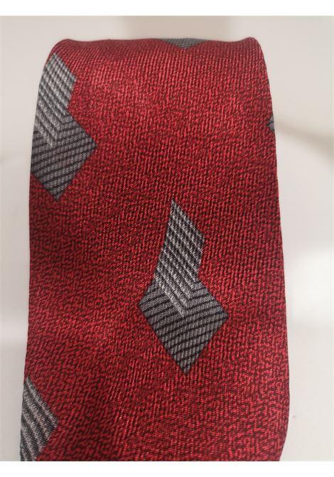 Giorgio Armani red grey multicoloured silk tie Armani | Cravatta | TIEROSSO