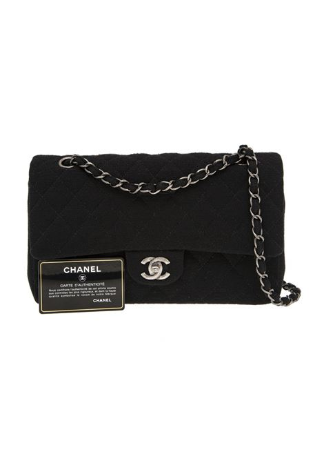 Chanel Timeless 2.55 black wool jersey shoulder or crossbody bag Chanel | Borsa | 2.55 JERSEYNERO