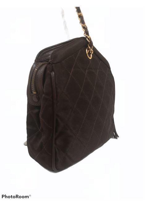1980s Chanel brown leather and fabric Gold tone hardware shoulder bag Chanel | Borsa | AMGV02114XSKLANRVRASO