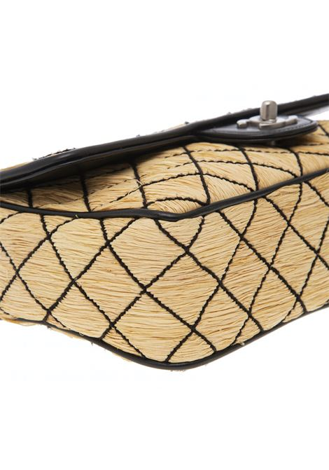Chanel one flap Natural Raffia and black diamond embroidery shoulder bag Chanel | Borsa | RAFFIARAFFIA
