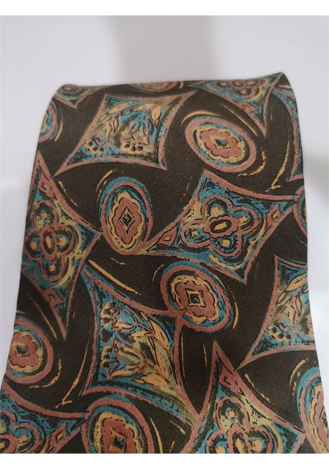 Fendi green multicoloured silk tie Fendi | Cravatta | TIEMARRONEMULTI