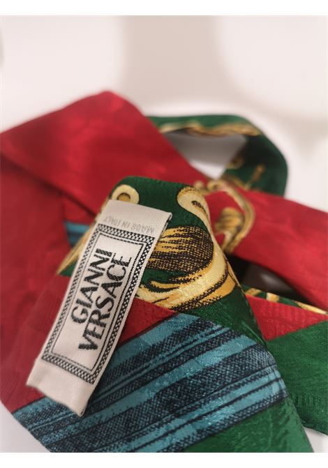 Gianni Versace Green red multicoloured silk tie Gianni Versace | Cravatta | MULTIGREEN RED GOLD