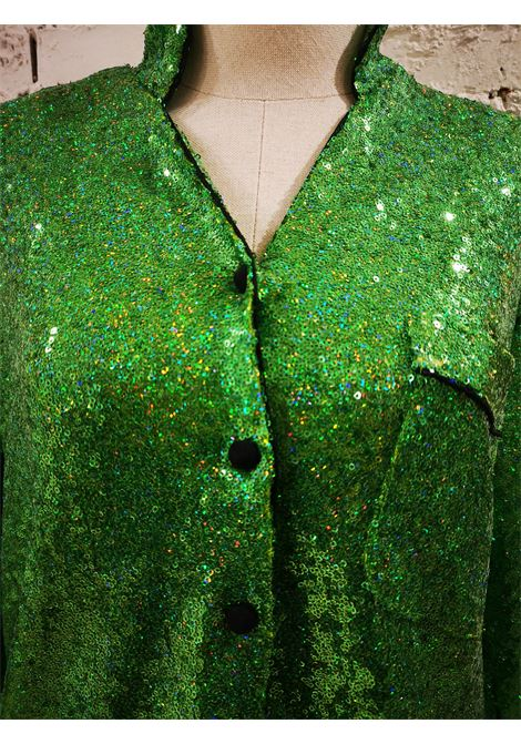 House of Mua Mua Hand-Beaded Mesh Pajama green shirt House of Muamua | Shirts | PIJAMA SHIRT -VERDE