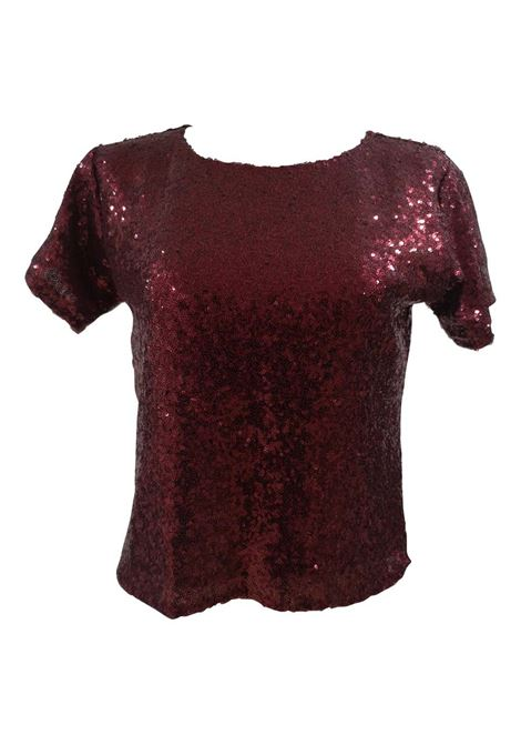 House of Muamua bordeaux sequins t-shirt House of Muamua | Maglia | SEQUINMESHBORDEAU