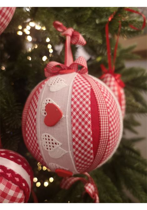 Christmas handmade set of nine ornaments HouseOfXmas | Decorazioni natale | SETOF9WHITEREDPIED DE POULE