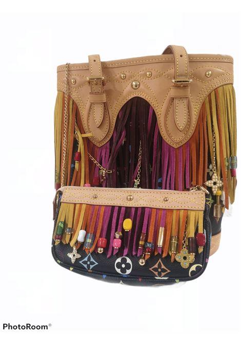 Louis Vuitton Takashi Murakami Black multicoloured fringes bucket bag pochette Louis Vuitton | Secchiello | AMGV02128KFRANGE