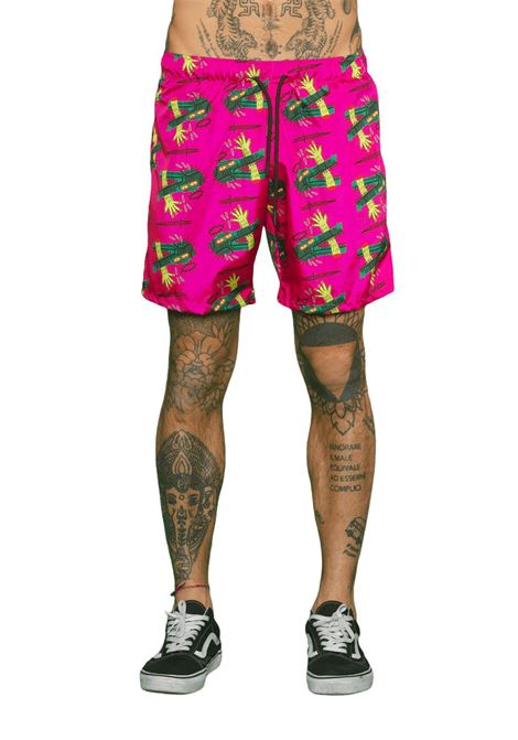 Crocodail tiard boardshort magenta Nais | Beachwears | COSTUMECROCODAIL