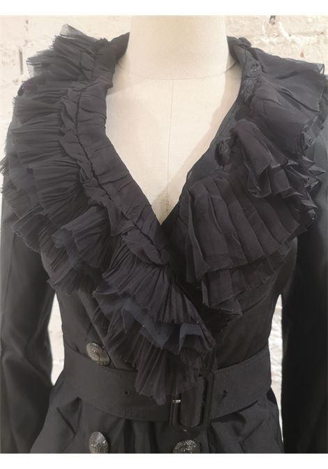 Prada black organza fur trench coat Prada | Coats | AT021XSA12K-