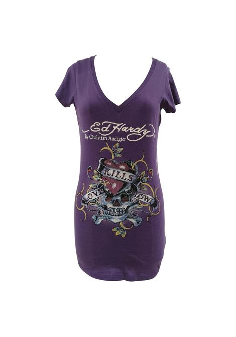 Ed Hardy purple cotton t-shirt VIntage | Maglia | AC02120CDXXXHARDY