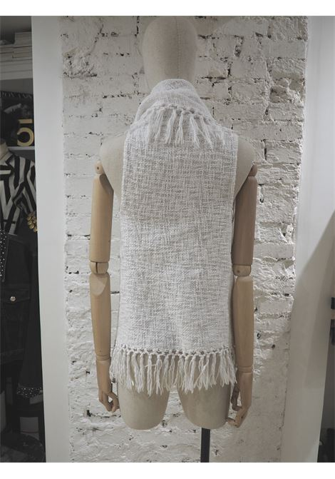 List white cotton Cardigan with fringes VIntage | Maglia | AC02120XSFXBIANCA