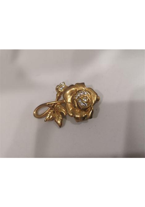 Vintage gold tone swarovski crystal rose brooch VIntage | Spilla | SPILLA ROSAROSA