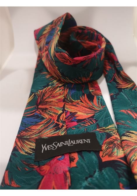 Yves Saint Laurent multicoloured leaves silk tie yves saint laurent | Cravatta | MULTI TIEFOGLIE