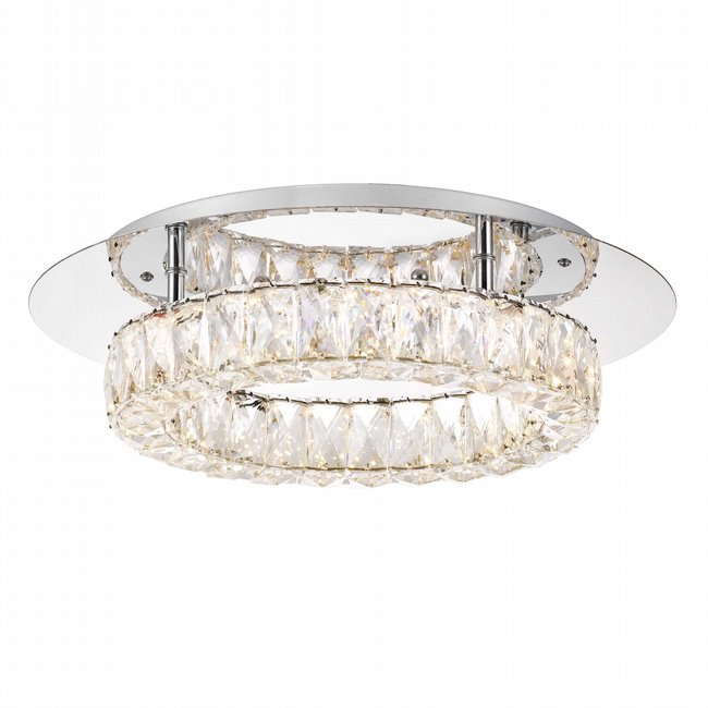 Galaxy 1-Light Integrated LED Chrome Finish and Clear Crystal Flush Mount Ceiling Light 17.5 in. Dia x 7 in. H Round