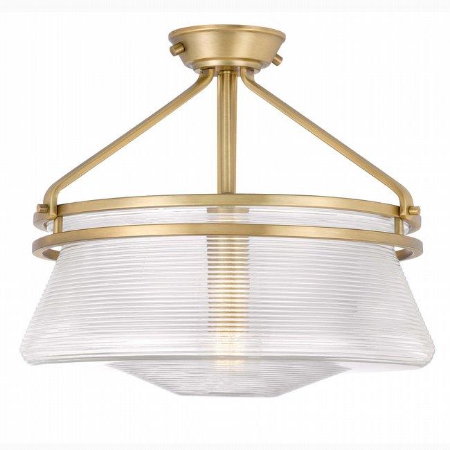 "OKeefe 1-Light Aged Brass Finish Embossed glass Semi-Flush Mount 14"" x14""x 13"""