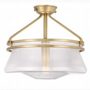 "O'Keefe 1-Light Aged Brass Finish Embossed glass Semi-Flush Mount 14"" x14""x 13"""