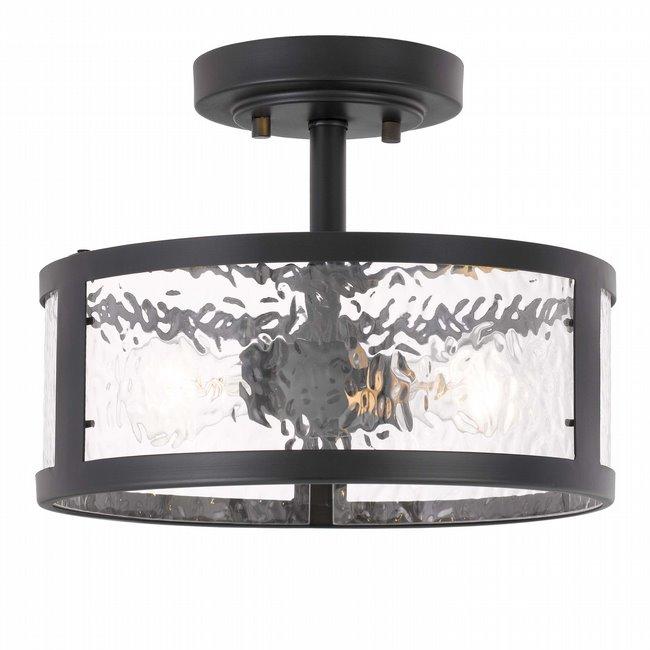 "Savannah 2-Light Black Finish Water Grain Glass Semi-Flush Mount 11.8"" x11.8""x 9"""