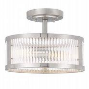 "Toluca 2-Light Brushed Nickel Finish Clear Ribbed Glass Semi-Flush Mount 11.8"" x11.8""x 9"""