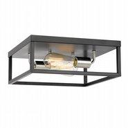"Concord 2-Light Black Frame with Brushed Nickel Socket Flush Mount 12.75"" x12.75""x 5"""