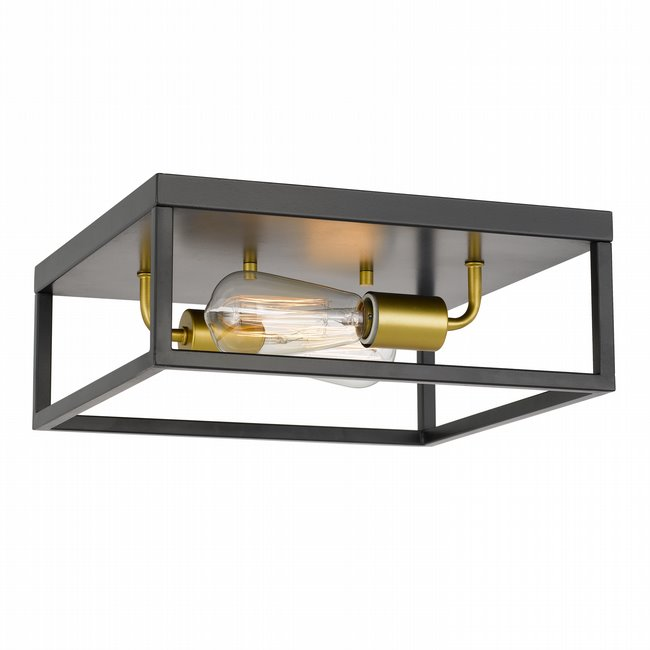 """Concord 2-Light Black Frame with Painted Brass Socket Flush Mount 12.75"""" x12.75""""x 5"""""""