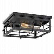 """Hanford 2-Light Black Frame with Brushed Nickel Socket Flush Mount 13.88"""" x13.88""""x 5.88"""""""