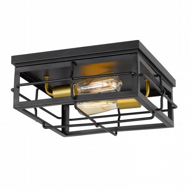 "Hanford 2-Light Black Frame with Painted Brass Socket Flush Mount 13.88"" x13.88""x 5.88"""