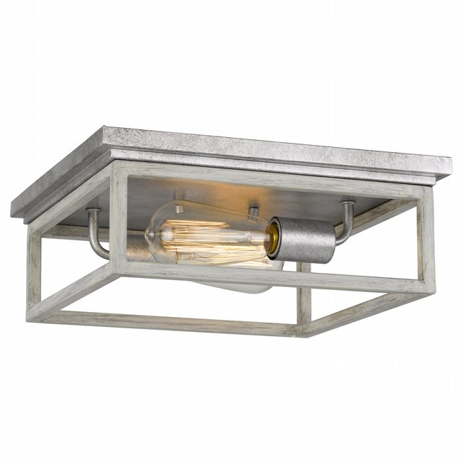 "Weston  2-Light Galvanized Ocala Oak Flush Mount 12.63"" x12.63""x 4.75"""