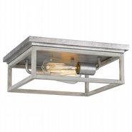 "Weston  2-Light Galvanized Ocala Oak Flush Mount 12.63"" x12.63""x 4.75"""