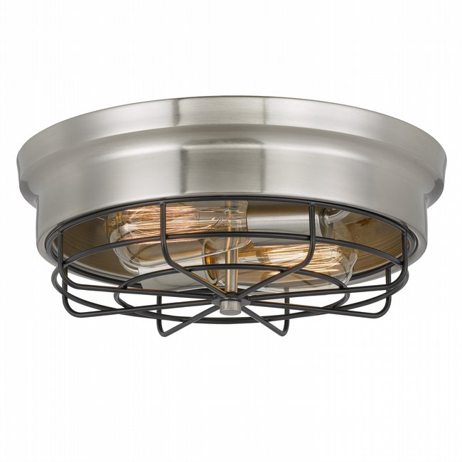 Bethpage 2-Light Brushed Nickel Canopy with Black Wire Frame Flush Mount 12.7x 12x4.5H