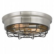 Bethpage 2-Light Brushed Nickel Canopy with Black Wire Frame Flush Mount 12.7