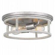"Newport 2-Light Galvanized & Ocala Oak Flush Mount 13"" x13""x 4.75"""