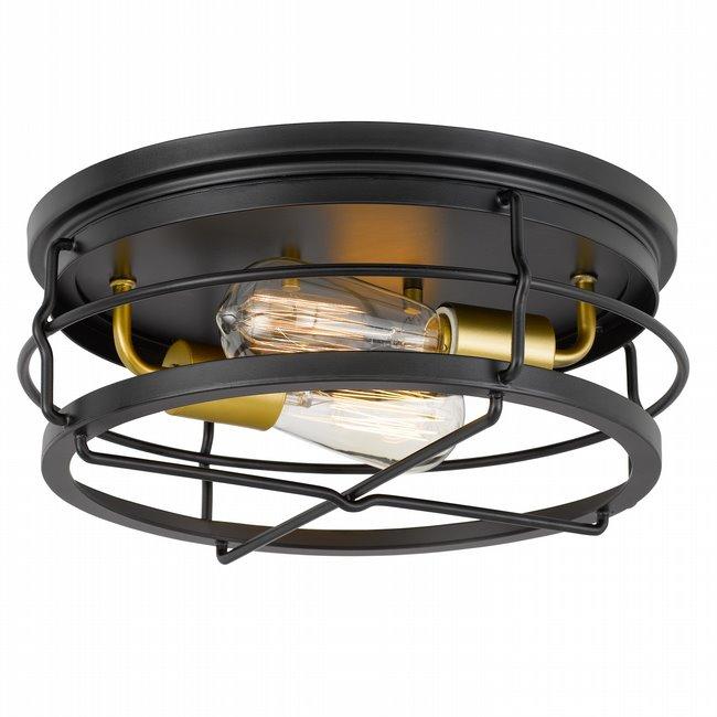 "Westwood 2-Light Black Frame with Brass Socket Flush Mount 13.88"" x13.88""x 5.87"""