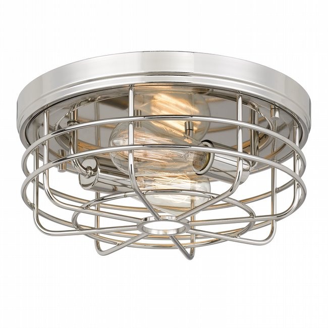 "Emerson 2-Light Polished Nickel Finish Flush Mount 13"" x13""x 5.5"""