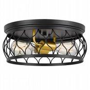 "Devon 2-Light Black Frame with luxury Gold Finish Socket Flush Mount 13.38"" x13.38""x 5.5"""