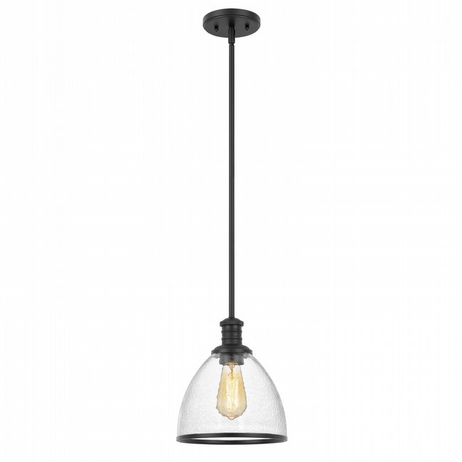 "Cloe 1-Light Black Finish Harmer Glass Pendant 9"" x9""x 10.5"""