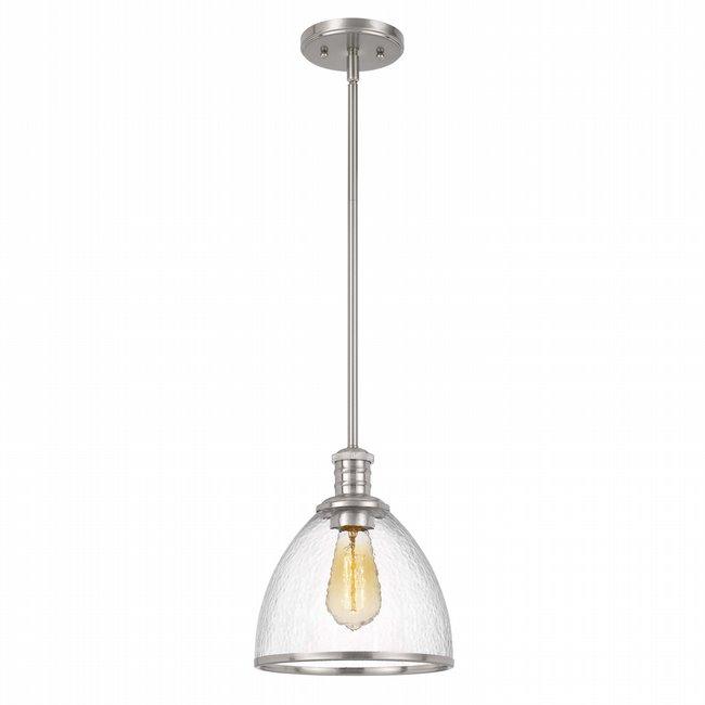"Cloe 1-Light Brushed Nickel Finish Harmer Glass Pendant 9"" x9""x 10.5"""